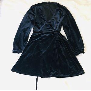 Zara Black Crushed Velvet Wrap Tunic!
